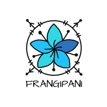 White plumeria (Frangipani). Art sign isolated on white
