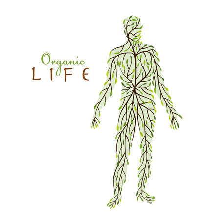 Organic Life concept. Green leaf people shape for your design