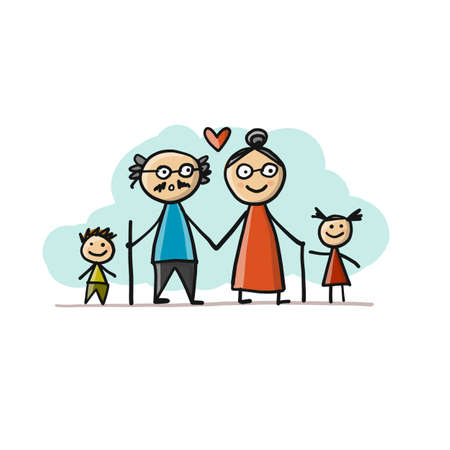 Happy family together, grandparents and grandchildrens. Sketch for your design 矢量图像
