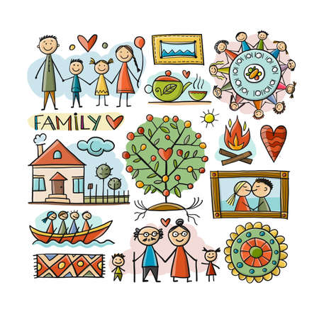 Family Life. Parents and Grandparents. Family House. Sketch for your design