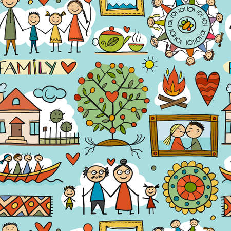 Family Life. Parents and Grandparents. Family House. Seamless pattern for your design 矢量图像