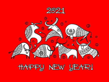 Happy new year card 2021. Funny Bulls family. Template for your design Illustration