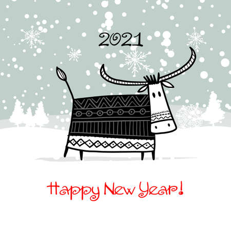 Happy new year 2021. Bull, ox, cow. Winter forest Background. Template for your design - poster, card, invitation 矢量图像