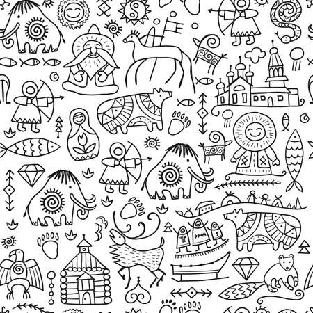 Seamless pattern with North People Lifestyle. Sketch for your design Vectores