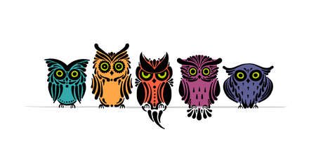 Cute owls family. Colorful style for your design Ilustracja