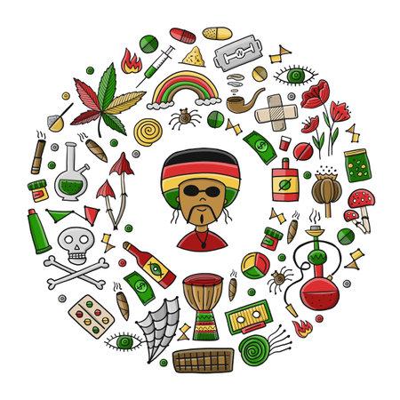 Drugs addiction. Say no to drugs. Rasta collection with skull, marijuana, drum, pills, music symbols