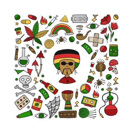 Drugs addiction. Say no to drugs. Rasta collection with skull, marijuana, drum, pills, music symbols Ilustración de vector
