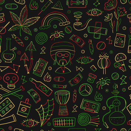 Drugs addiction. Say no to drugs. Rasta collection with skull, marijuana, drum, pills, music symbols. Seamless pattern background