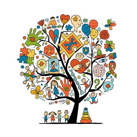 World autism awareness day. Art concept tree. Symbol of autism. Sketch for your design Vector Illustratie