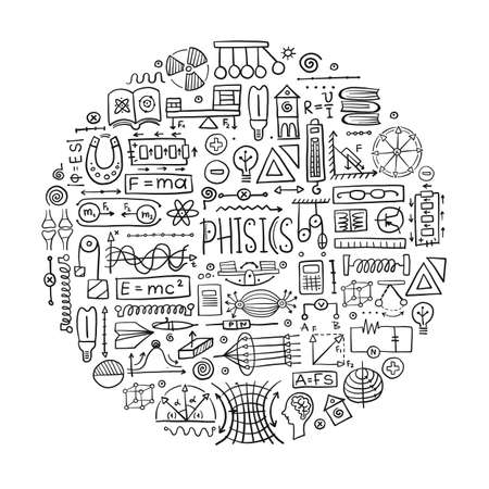 Physics icons, sign and symbols. Art Background for your design