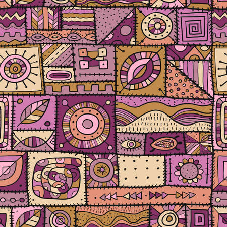 Sewn pieces of fabric in a patchwork style. Ethnic Ornament for your design. Seamless pattern