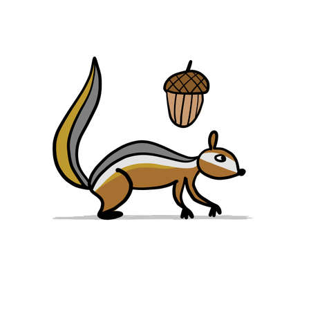 Funny Chimpank with nut. Ground Squirrel. Sketch for your design. Vector illustration