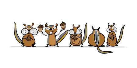 Funny Chimpank family with nuts. Ground Squirrel. Sketch for your design Vectores