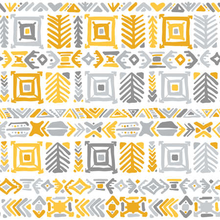 Ethnic handmade ornament, yellow and grey colors. seamless pattern