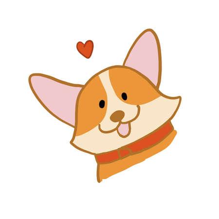 Corgi dog face. Funny Puppy. Sketch for your design