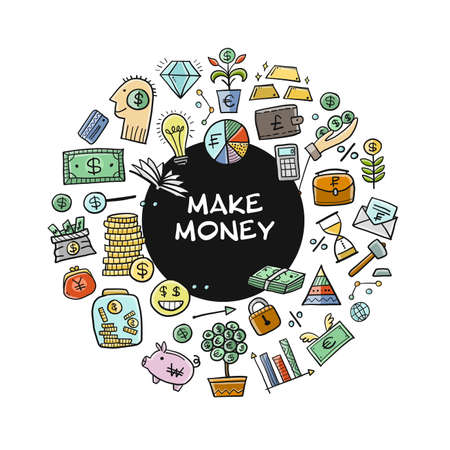 Make Money Concept. Banking and currency. Save coins, Investment Background for your design