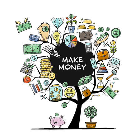 Money Tree Concept. Banking and currency. Save coins, Investment art for your design
