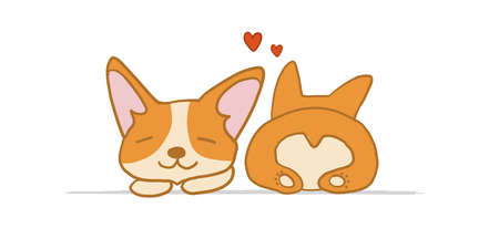 Corgi dogs relax. Two Funny Puppies. Sketch for your design
