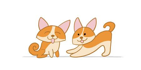 Corgi dogs. Funny Puppy. Sketch for your design