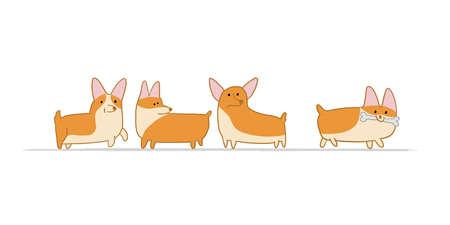 Corgi dogs family. Funny Puppy. Sketch for your design