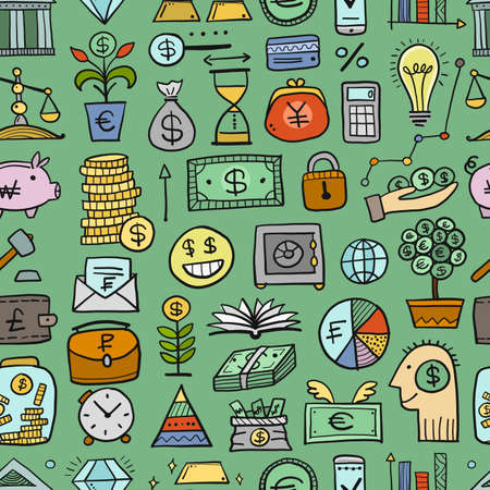 Money Concept. Banking and currency. Save coins, Investment Seamless pattern Background for your design