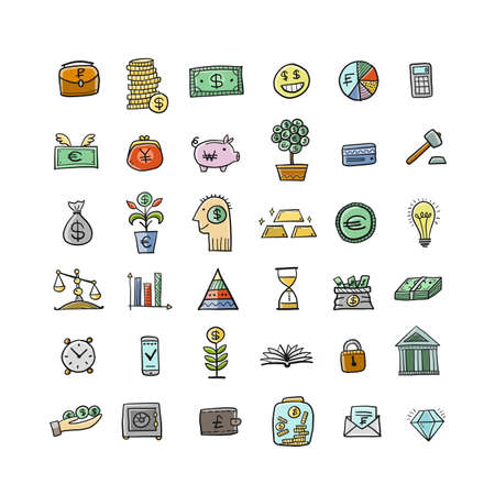 Money icons. Banking and currency. Save coins, Investment Background for your design
