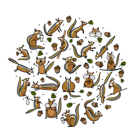 Funny Chimpank family with nuts. Ground Squirrel. Background for your design