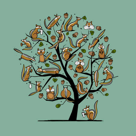 Funny Chimpank family with nuts on Tree. Ground Squirrel. Art Concept for your design