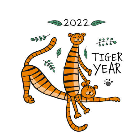 Tiger Cartoons, animal character. Symbol of 2022 New Year. Design Template for Christmas card, banner, poster, holiday decoration Vectores