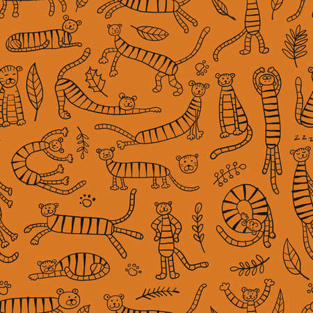 Collection of tigers and tropical leaves. Seamless Pattern for your design
