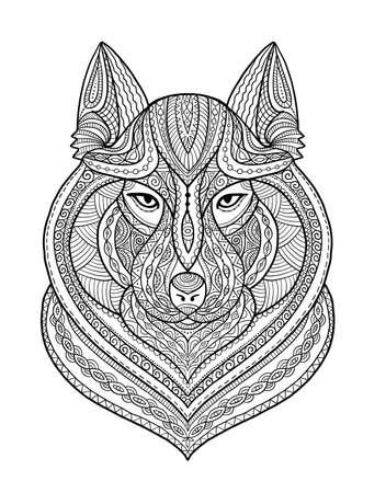 Wolf portrait, aztec zenart style for your design Vectores