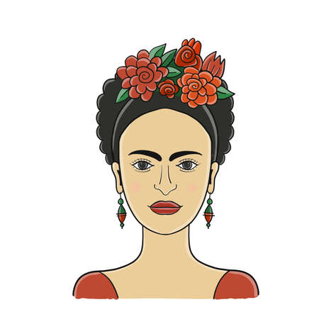 Frida, portrait of modern Mexican woman for your design Vectores