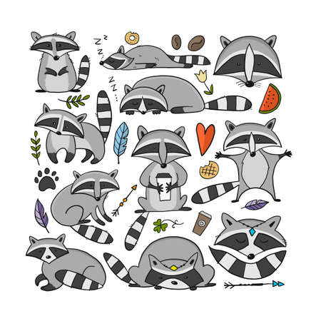 Racoons Family. Funny Characters. Art frame for your design Vectores