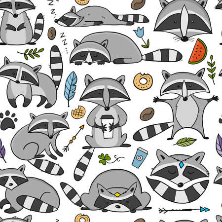 Racoons Family. Funny Characters. Seamless pattern for your design Vectores