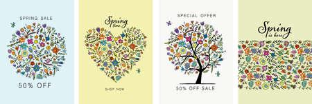 Spring Time, floral card design. Wallpaper, flyers, invitation, posters, brochure, voucher,banners. Foto de archivo