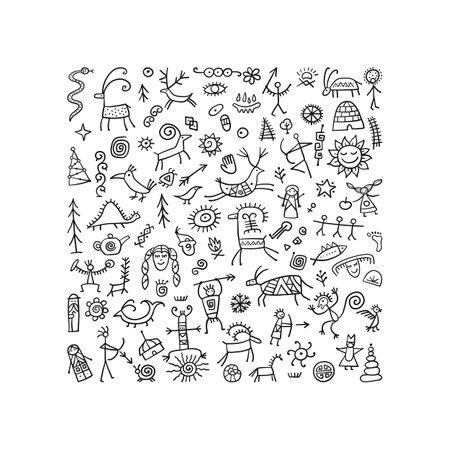 Rock paintings background, sketch for your design Ilustración de vector