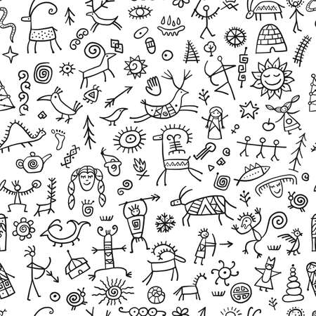 Rock paintings background, seamless pattern for your design Ilustración de vector