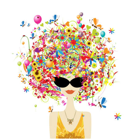 Holiday concept. Floral female portrait, pretty woman in sunglasses. Design for fashion cards, banners, posters Vector Illustratie
