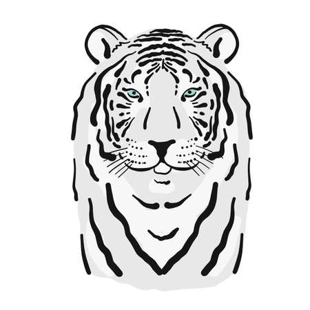 White Tiger art portrait for your design. Stylish poster. Symbol of year 2022