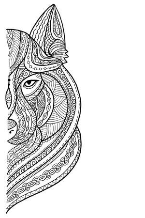 Wolf portrait, aztec zenart style for your design Vektorgrafik