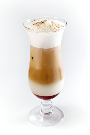 Layered Chocolate Cocktail in Glass isolated on white