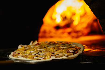 Pizza and brick pizza oven with fire