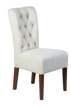 antique furniture: Wooden chair with white soft seat isolated on white background Stock Photo