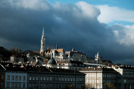 View of Buda side of Budapest with the Buda Castle, St. Matthias and Fishermens Bastion in a cloudy day 写真素材