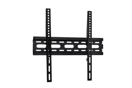 Black color parts of wall mount brackets for LCD monitor, plasma TV and LED display device. Isolated on white background. Copy space.