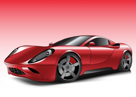 isolated on red: car sports
