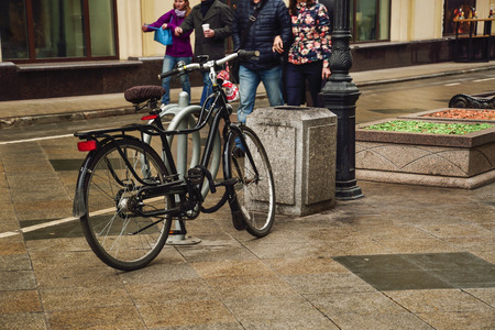 bike parking: Bike Parking on the street, Russia, Moscow, 04.112015. 14:00