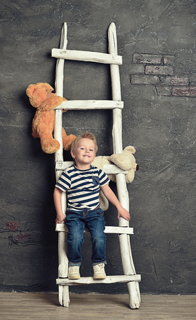 soft toys: Little boy with soft toys