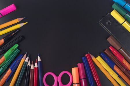 Colored pencils laid out like a fan.