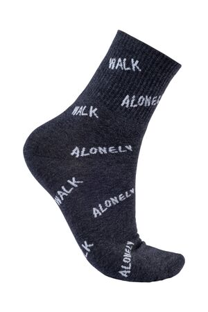 Men's socks on the foot on a white background